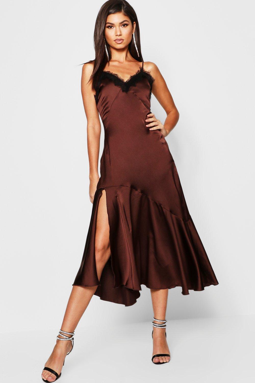 9db7216ba6 Satin Strappy Lace Trim Midaxi Dress - Female First Shopping