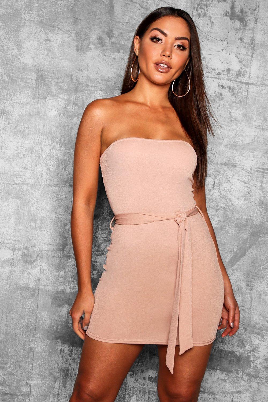 153a04083443 Bandeau Tie Belt Bodycon Dress - Female First Shopping