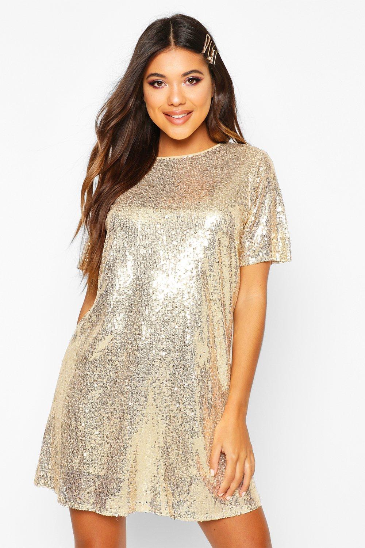 gold t shirt dress