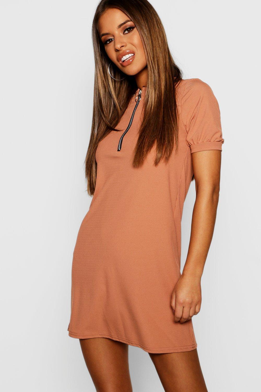 0adb0d1a642a4 Petite Ribbed Zip Front T-Shirt Dress - Female First Shopping