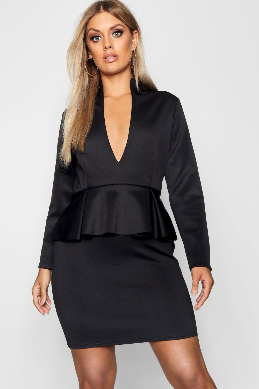 e4ce0c3782 Plus Peplum High Collar Dress