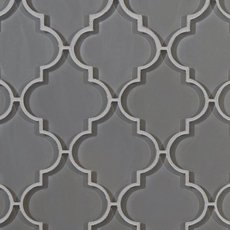 Fleur Gray Arabesque Glass Mosaic