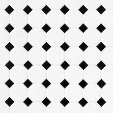 White and Black Dot Octagonal II Porcelain Mosaic
