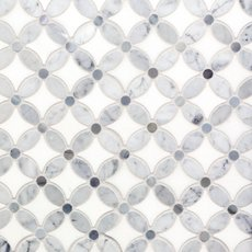 Carrara Thassos Blue Flower Marble Mosaic