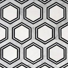 Carrara Thassos Hexagon Waterjet Marble Mosaic