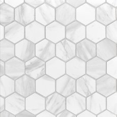 Volakas Polished Hexagon Porcelain Mosaic