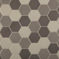 Unglazed Dark Blend 2 in. Hexagon Porcelain Mosaic