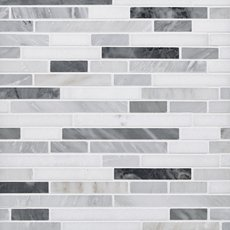Dove Gray and White Polished Linear Marble Mosaic