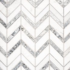 Heron Gray Chevron Honed Marble Mosaic