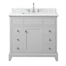 Aurora 37 in. Vanity with Carrara Marble Top