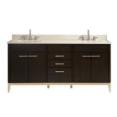 Hepburn 73 in. Vanity with Crema Marfil Marble Top