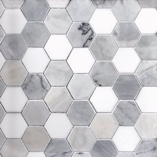 Egret Gray 2 in. Hexagon Polished Marble Mosaic