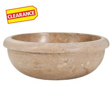 Clearance! Noce Round Drop-In Travertine Sink
