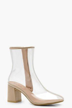 killah nude clear heel boots pink - Shop killah nude clear