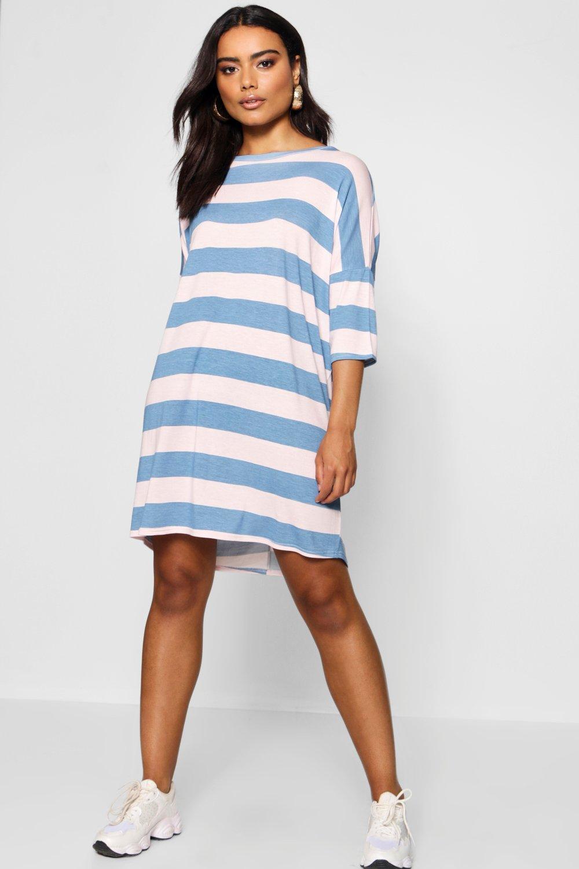 Product photo of Batwing tonal stripe tee dress