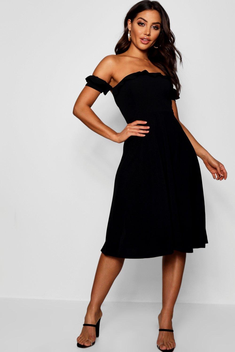 Product photo of Off the shoulder midi skater dress