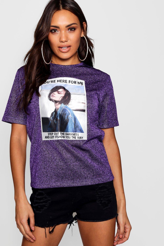 Product photo of Metallic girl face tshirt