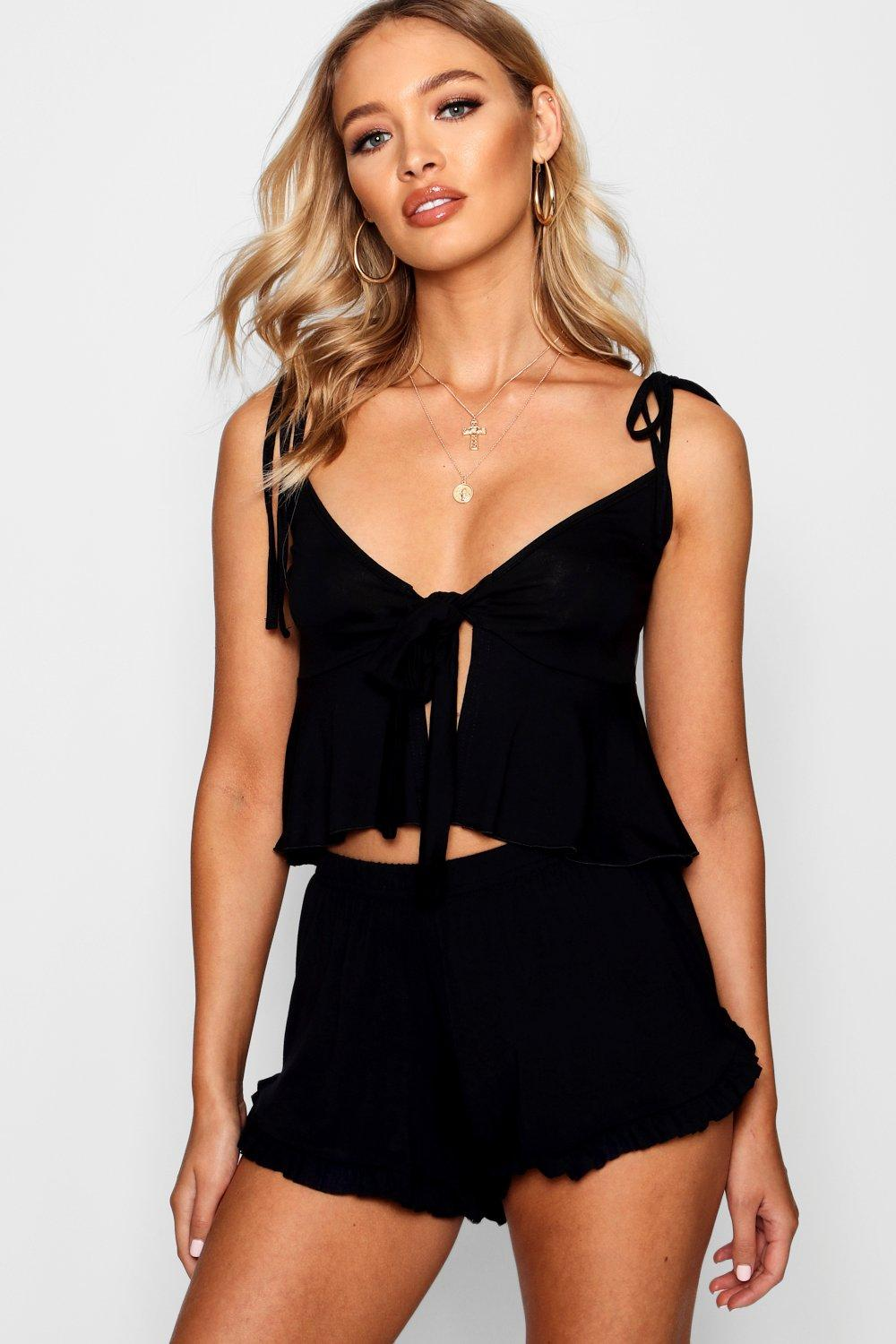 Product photo of Tie strap tie front cami