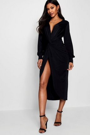 f8977fb59b3 slinky twist front plunge midi dress - Shop slinky twist front ...