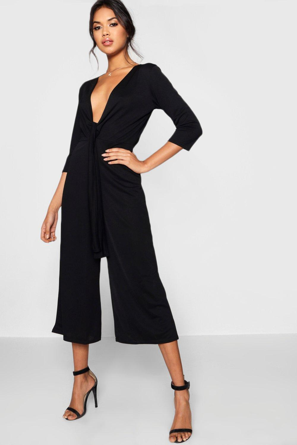 Product photo of Tie front plunge culotte jumpsuit