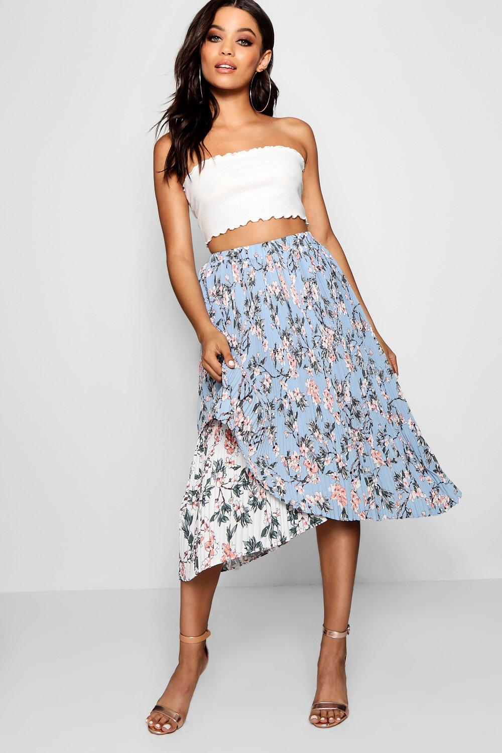 Product photo of Woven floral pleated asymetric skater skirt