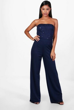 Read more about Gemma boutique wide leg sequin jumpsuits