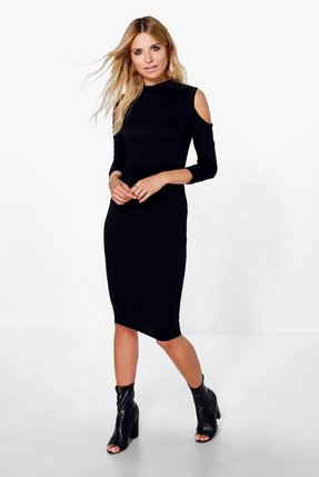 bcbaf285d96dd5 asos high neck cold shoulder midi dress red - Shop asos high neck ...