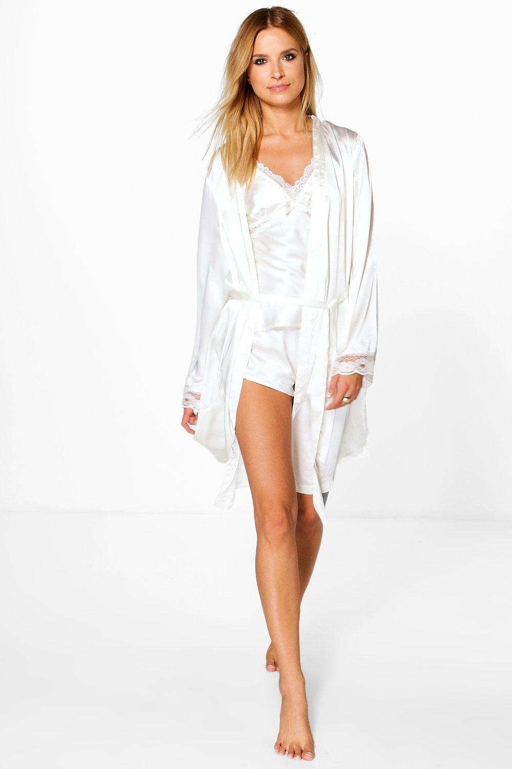 Product photo of Cream bridal lace sleeve satin kimono robe