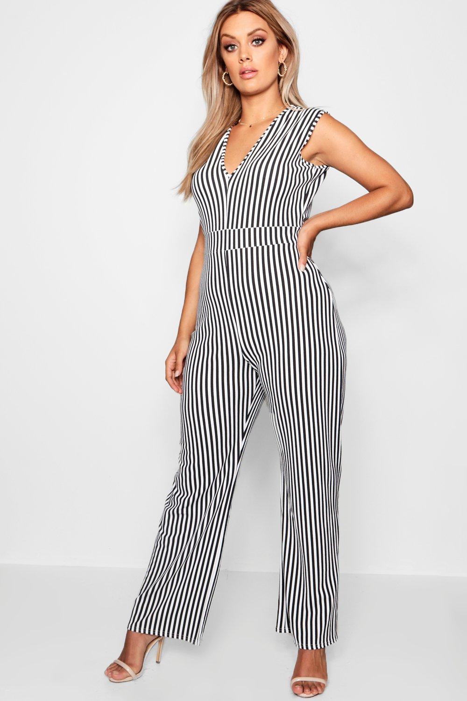 Product photo of Plus stripe plunge jumpsuit