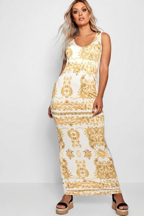 Read more about Plus gemma baroque plunge slinky maxi dress