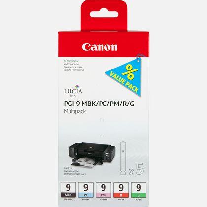 Multipack de 5 cartouches d'encre Canon PGI-9 MBK/PC/PM/R/G