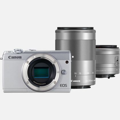 Canon EOS M100 blanc + objectif EF-M 15-45 mm IS STM argent + objectif EF-M 55-200 mm IS STM argent
