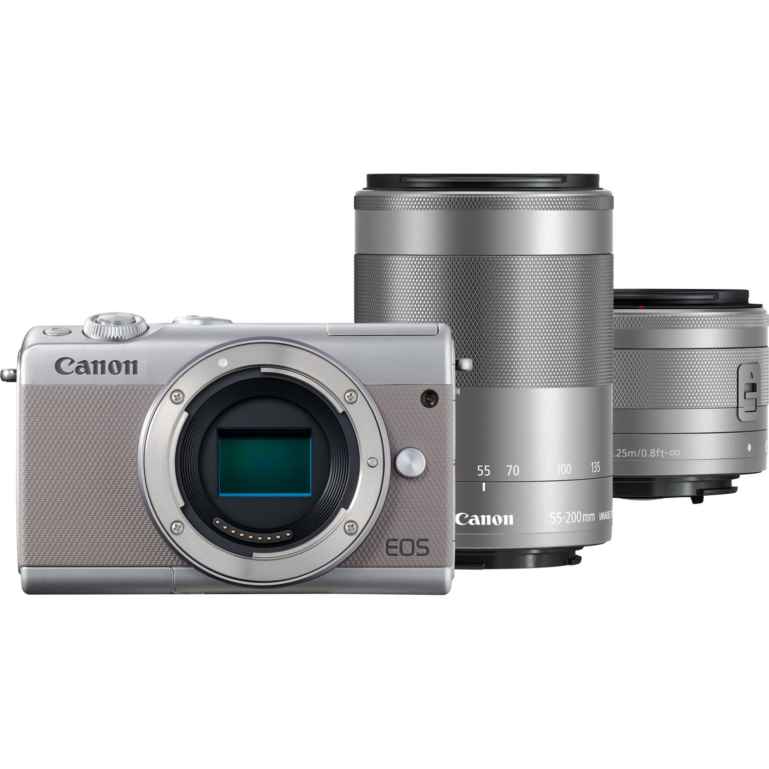 canon eos m100 gris objectif stm ef m 15 45 mm is argent objectif ef m 55 200 mm is stm. Black Bedroom Furniture Sets. Home Design Ideas