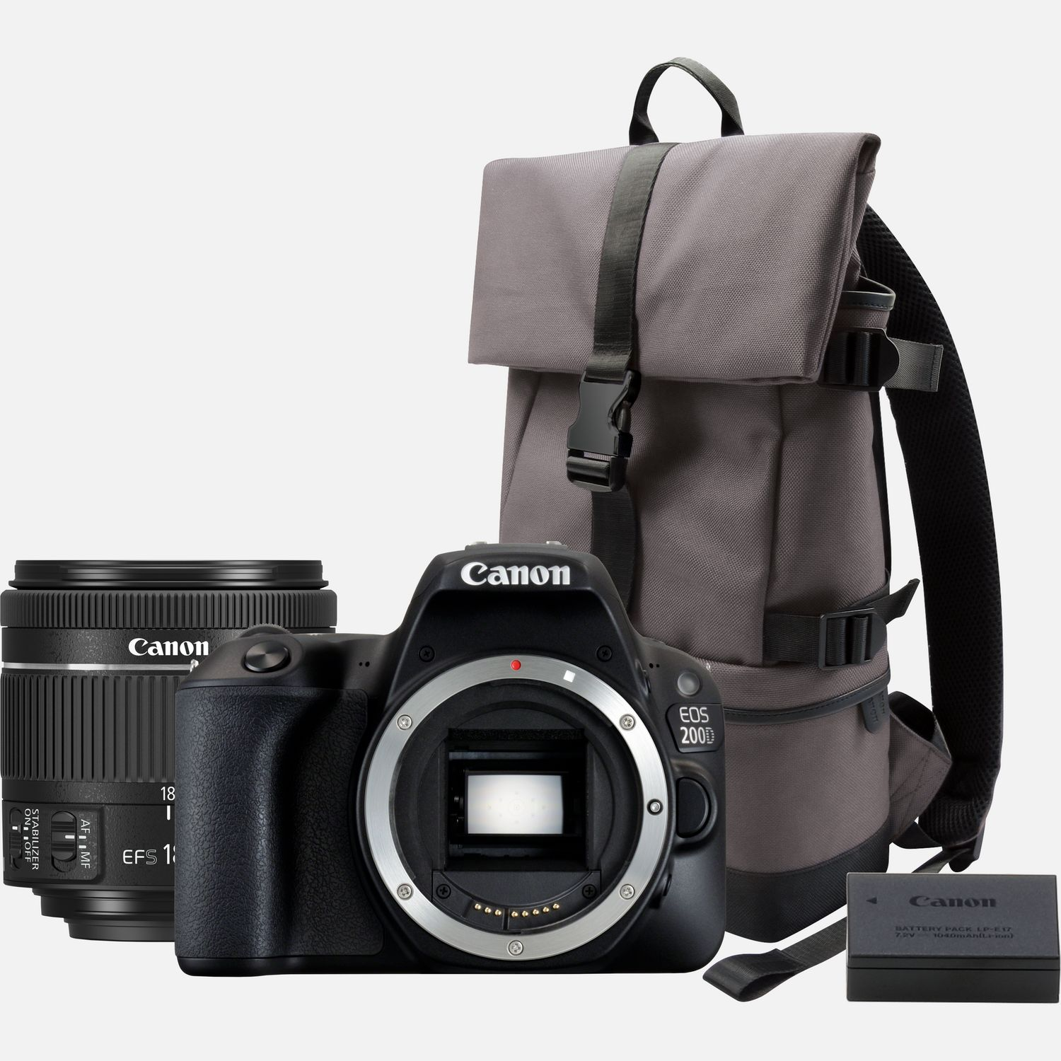 Image of Canon EOS 200D Black + 18-55mm f/4-5.6 IS STM Lens Black + Backpack + Spare Battery