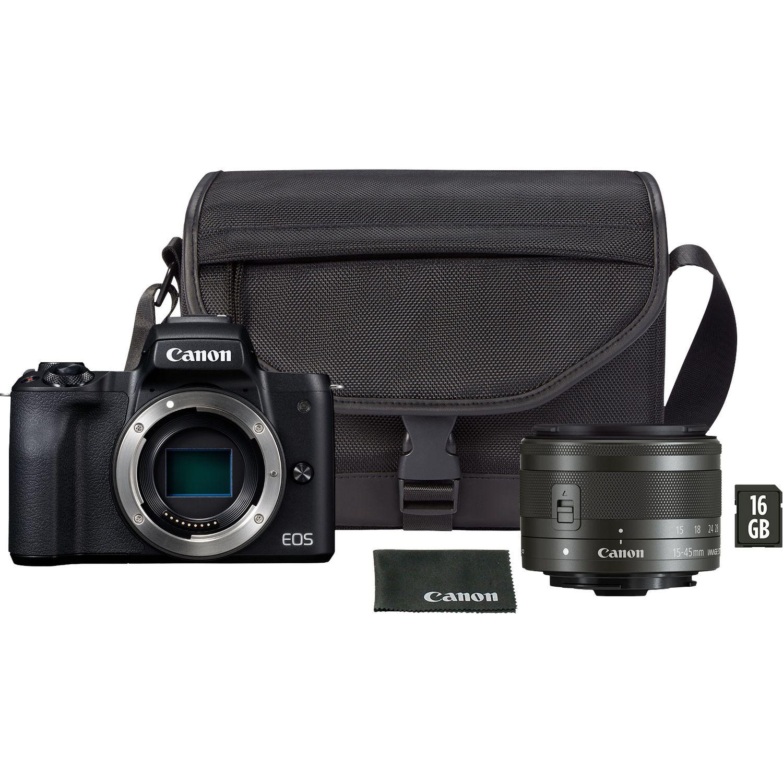 Buy Canon EOS M50 Black + EF-M 15-45mm IS STM Black + Shoulder Bag +
