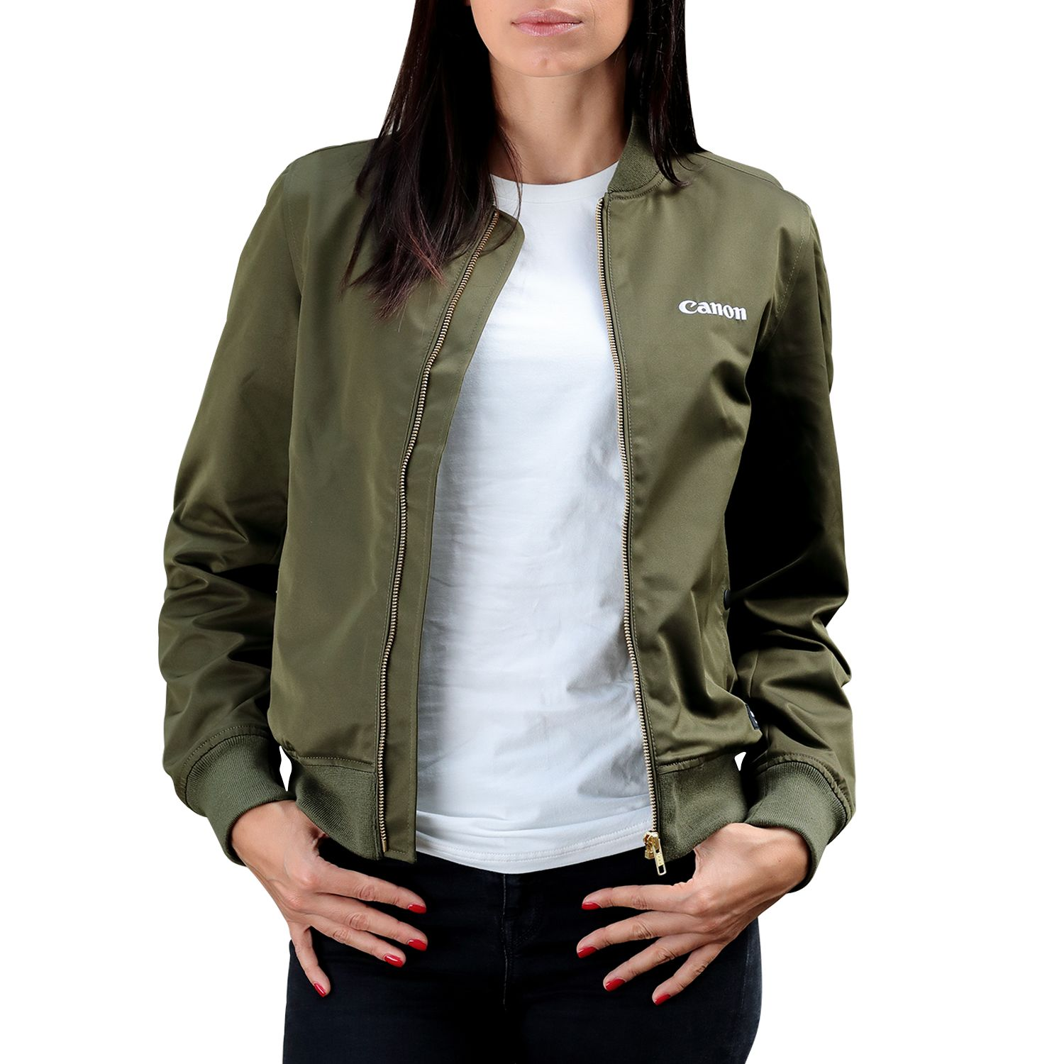 a1489586d Details about Canon Logo Womens Bomber Jacket Long Sleeve Full Zip Dark  Olive Green