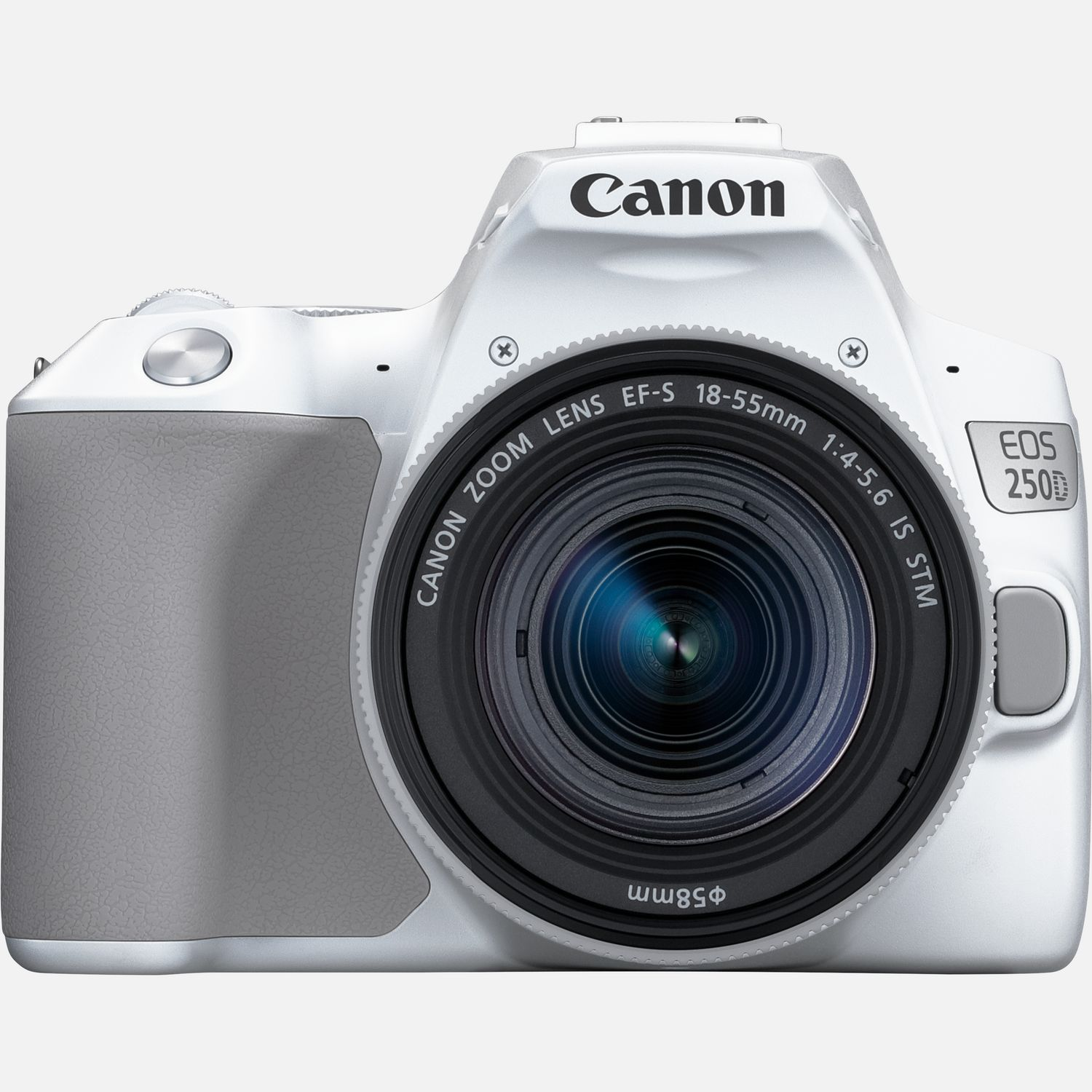 Image of Canon EOS 250D, White and EF-S 18-55mm f/4-5.6 IS STM Lens