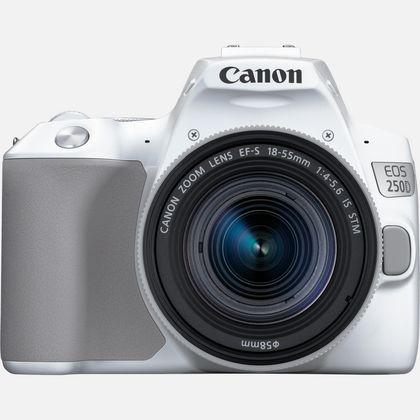 Canon EOS 250D, blanc + objectif EF-S 18-55mm f/4-5.6 IS STM