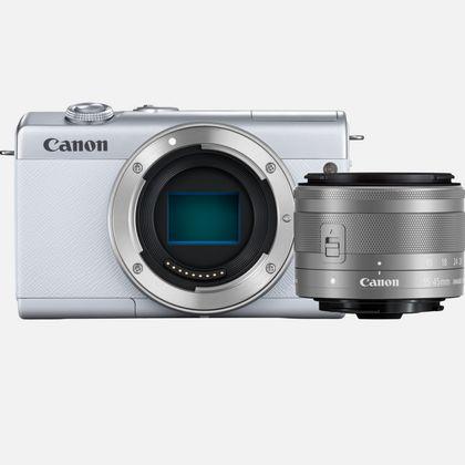 Boîtier Canon EOS M200 blanc avec objectif EF-M 15-45mm argent