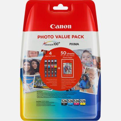 Cartouche d'encre Canon CLI-526 BK/C/M/Y + Pack économique de papiers photo