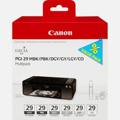 Multipack de 6 cartouches d'encre Canon PGI-29 MBK/PBK/DGY/GY/LGY/CO