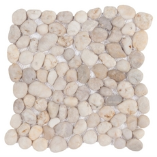 Decorative Gray and White Pebble Stone Mosaic