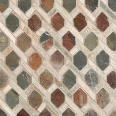 Mixed Diamond Decorative Slate Mosaic