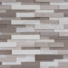 Gray and White Interlocking Honed Panel Marble Mosaic