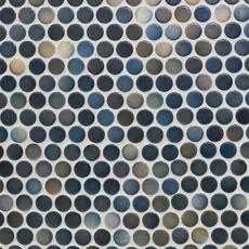 Dark Blue Multi Penny Porcelain Mosaic 10 X 12