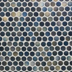 Dark Blue Multi Penny Porcelain Mosaic