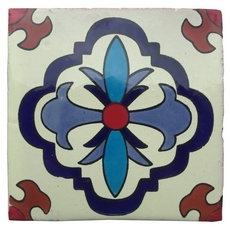 Hand-Painted White Talavera Tile (Pattern RT4141)