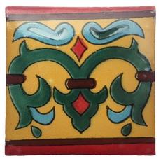 Hand-Painted Yellow Talavera Tile (Pattern RT4154)