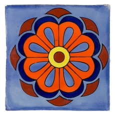Hand-Painted Blue Talavera Tile (Pattern Rt6139)