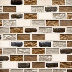 Glass and Travertine Mix Brick Glass Mosaic